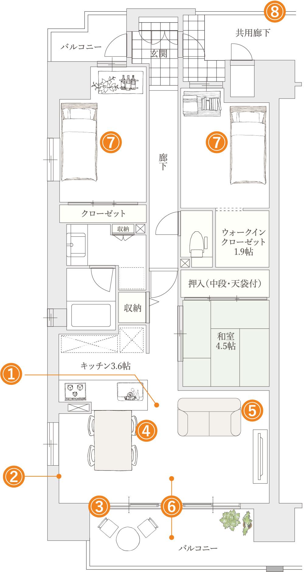 マンションのインテリア図
